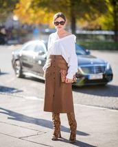 shoes,boots,high heels boots,midi skirt,leather skirt,white shirt,clutch,sunglasses