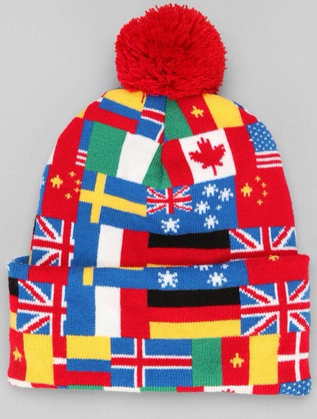 hat beanie map print world flags cute