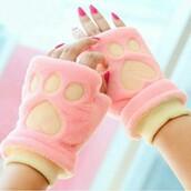gloves,pink,fluffy,cats,kawaii,cute