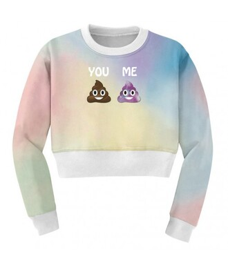 sweater funny rainbow fashion poo pastel style fall outfits cropped it girl shop