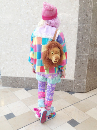 sweater cardigan colorful rainbow bright harajuku japan japanese streets kawaii patchwork