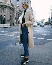 shoes,sneakers,jeans,high waisted jeans,coat,wool coat,turtleneck