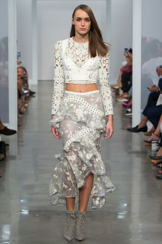 top ruffle ankle boots crop tops zimmermann runway ny fashion week 2016 model asymmetrical asymmetrical skirt lace