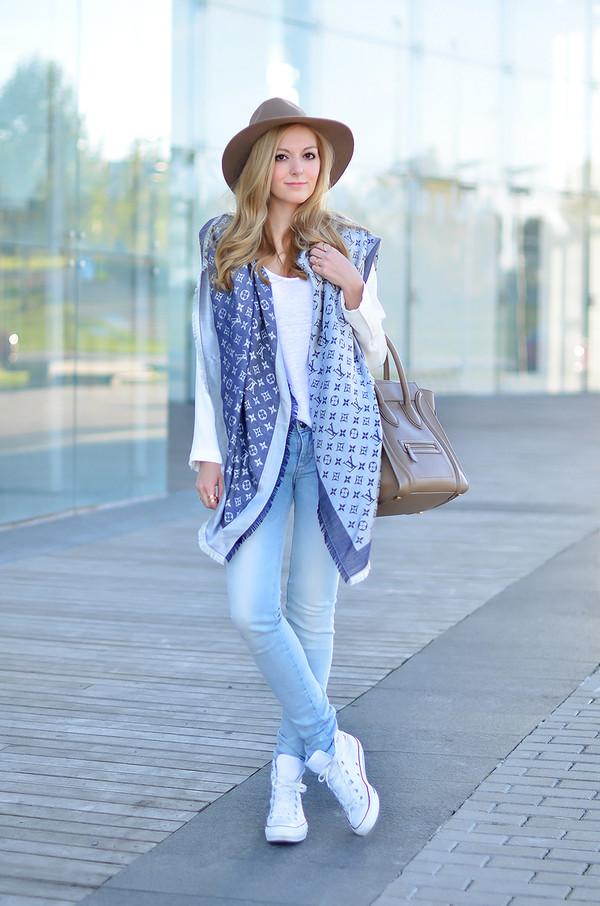 oh my vogue scarf jacket t-shirt jeans shoes bag hat jewels