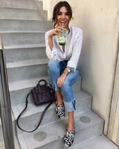 shoes,tumblr,jeans,denim,blue jeans,shirt,white shirt,bag,brown bag,negin mirsalehi,top blogger lifestyle,blogger,slippers