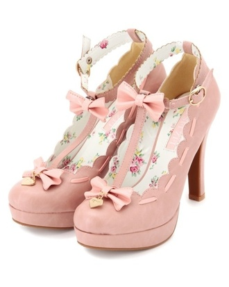 shoes pink heels pretty kawaii liz lisa japanese floral bow
