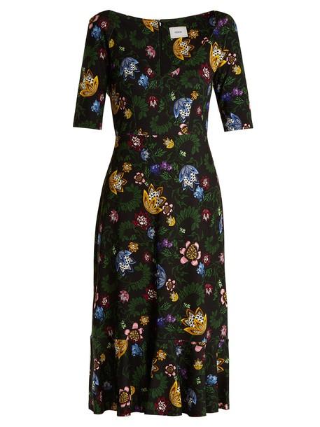 Erdem dress jersey dress floral print black