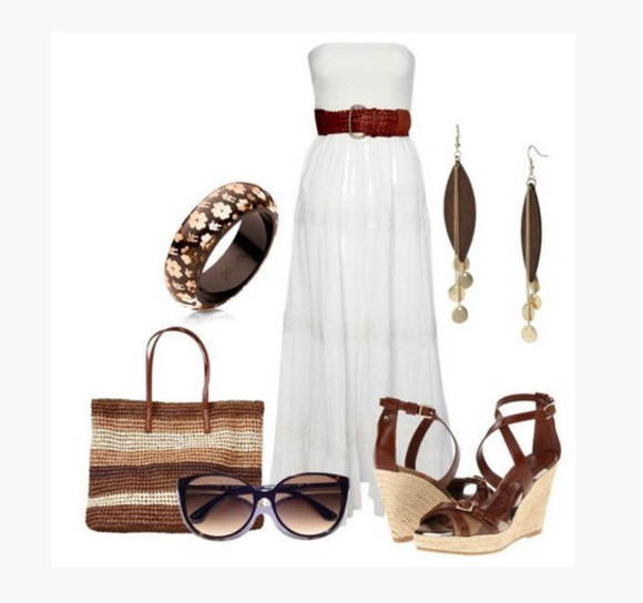 dress bag maxi dress clothes white dress long dress earrings purse high heels outfit natural waist sleeveless loose skirt drop earring dangle earrings leaf earrings bracelet beach bag sunglasses wedge heels wedges belt brown belt strapless dress
