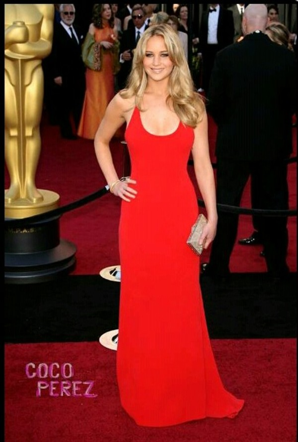 dress red dress gown jennifer lawrence