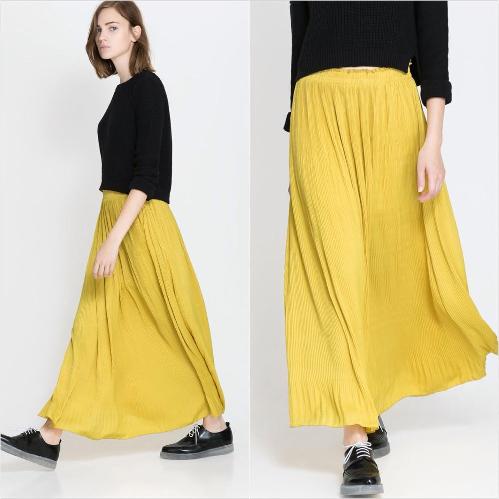 Gorgeous ZARA Yellow Maxi Long Flowing Pleated Skirt SIZE S Small Last In Stock | eBay