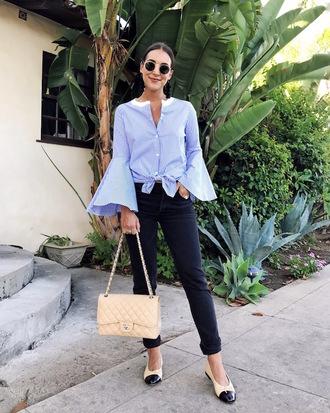 shirt tumblr blue shirt stripes striped shirt bag nude bag denim jeans blue jeans flats sunglasses shoes