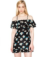 dress,pixiemarket,pixie market,cute,cute dress,affordable clothing,affordable fashion,black,floral,straps,flowers,blue,off the shoulder,little black dress,spaghetti strap