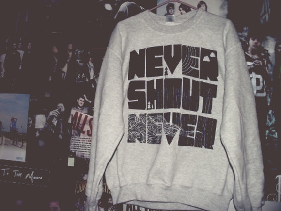 sweater music letters black vintage grey band nevershoutnever cute