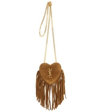 heart mini love bag shoulder bag suede beige