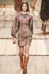 dress,mini dress,boots,satin dress,etro,milan fashion week 2016