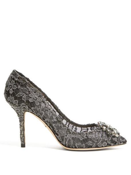 Dolce & Gabbana - Bellucci Crystal Embellished Lace Pumps - Womens - Dark Grey