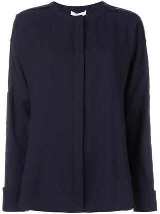 blouse fit blue top