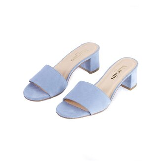 shoes mules baby blue mid heel sandals