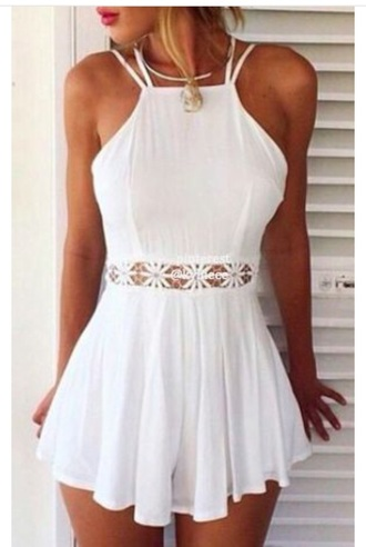 romper pinterest white floral pretty girl cute summer necklace white romper detailing cut-out