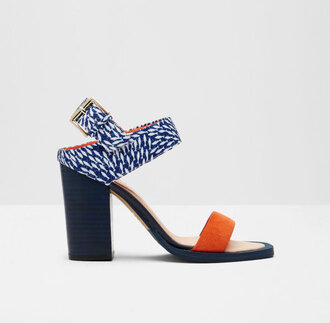 shoes block heels ted baker statement shoes sandals high heels high heel sandals orange navy summer shoes thick heel