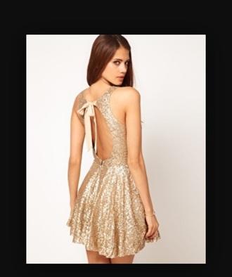 dress gold dress sparkly dress backless dress bow back dress