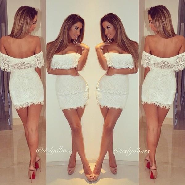 dress lace dress lace cream dress white dress off the shoulder dress mini dress fringes party dress white short dress short white dress denim dress short off the shoulder