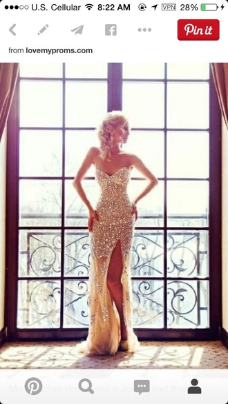 dress gold sequins sparkley strapless dresses long prom dress long dress prom dress gold dress pretty slit dress mermaid prom dresses