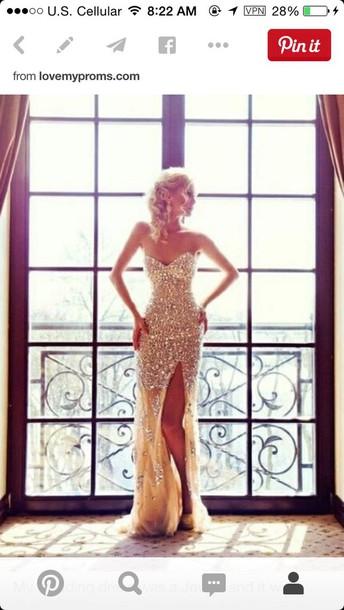 dress gold sequins sparkley strapless dress long prom dress long dress prom dress gold dress pretty slit dress mermaid prom dress