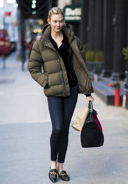 jacket puff karlie kloss streetstyle celebrity style model coat puffer jacket shoes