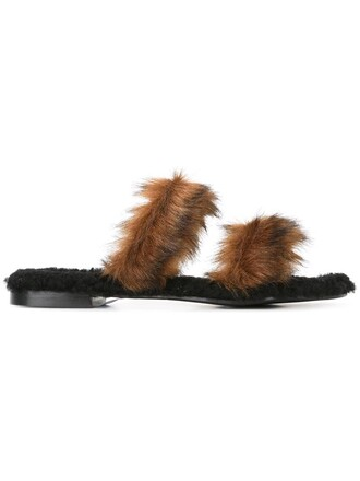 fur women slippers leather brown shoes
