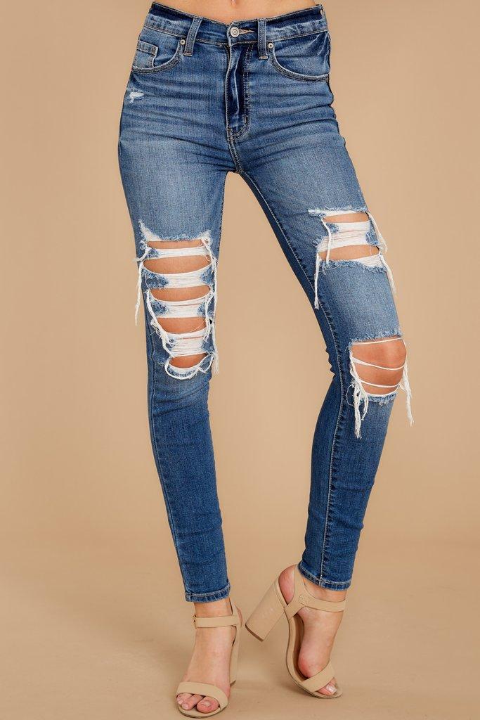 Be Melodramatic Medium Wash Distressed Skinny Jeans