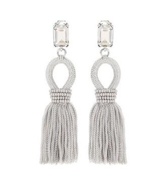 tassel embellished earrings grey jewels