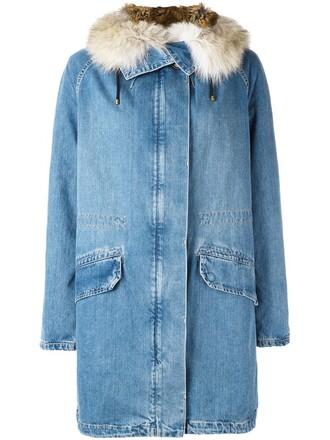 parka denim oversized fur women cotton blue coat