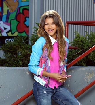 jacket zendaya zapped movie textured coat bright blouse