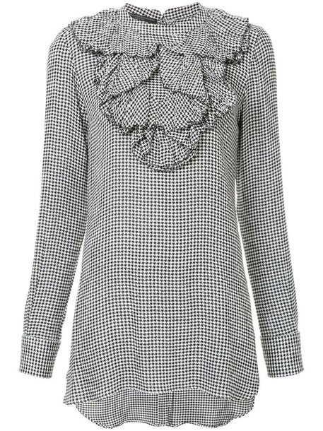 Ermanno Scervino blouse women print black wool houndstooth top