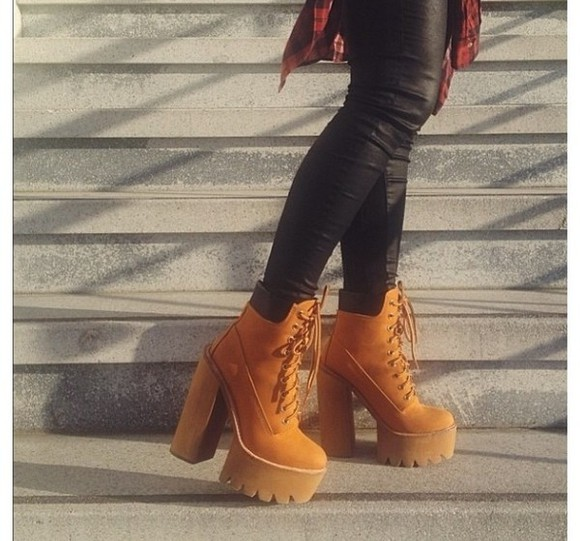 boots shoes platform crazy timberlands edgy winter boots tracks wild dare miley cyrus fiftyfootfashionista