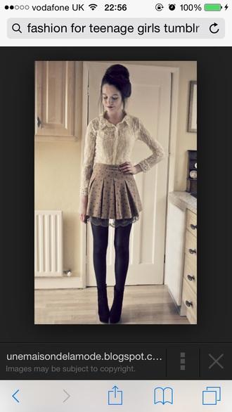 mauve black poka dots under lace short skirt