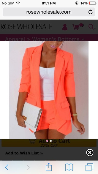 coral blazer short bustier neon tailoring