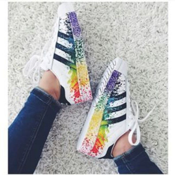 shoes superstar coloured splash adidas superstars