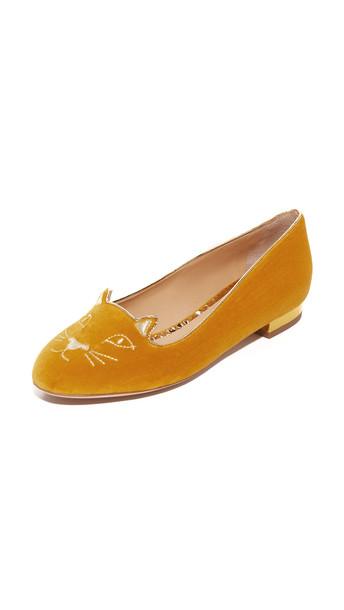 Charlotte Olympia Kitty Flats - Yellow/Gold