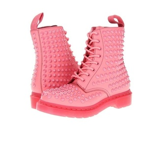 shoes pastel pink drmartens studded shoes studs unique kawaii grunge
