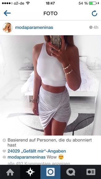 skirt grey grey half side blogger