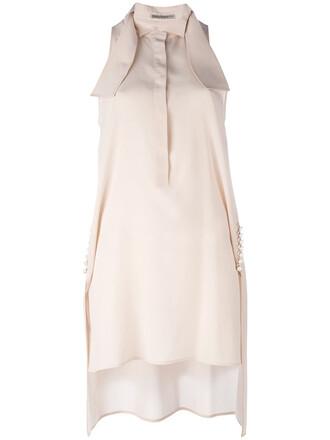 blouse sleeveless women nude silk top