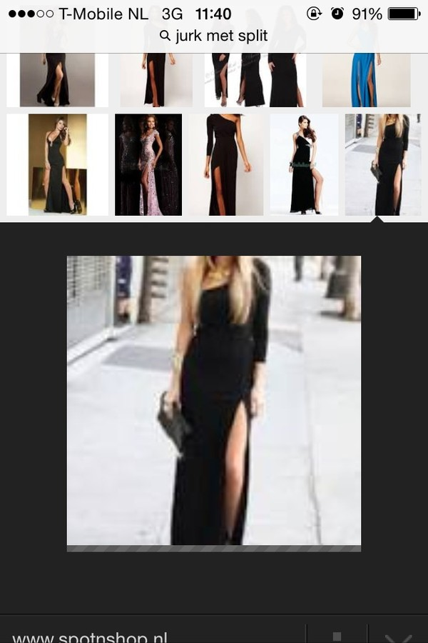 dress black split maxi cutted blouse