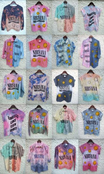 nirvana t-shirt grunge tie dye shirt colorful smiley oldschool vintage hipster ombre bleach diy rad radical