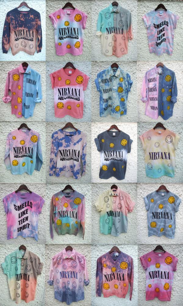 DIP Tie Dye Ombre Denim Shirt Dress Grunge 90s Nirvana ...