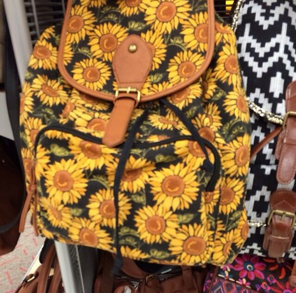 bag backpack cute bookbag sunflower