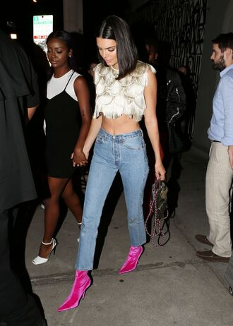 shoes pink pink boots kendall jenner kardashians crop tops top jeans high waisted jeans model off-duty blouse
