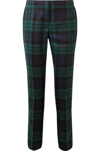 pants blue wool tartan