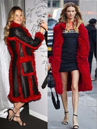 coat red fur fall outfits behati prinsloo model sandals dress mini dress